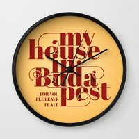 budapest Wall Clocks featuring Budapest by Lowso