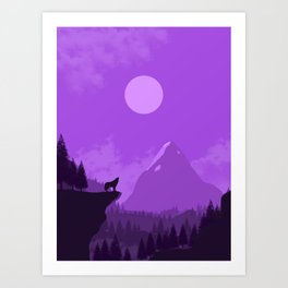 2D Wolf Amongst Mountain Ranges and Sunset - Purple Art Print