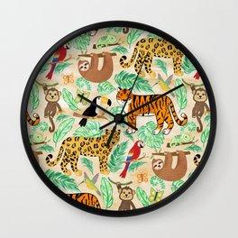 Wild And Wonderful Jungle Friends - Light Beige Background Wall Clock