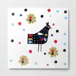 Folk Bird Metal Print