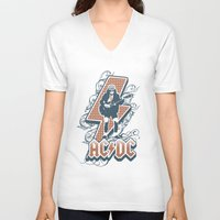 acdc V-neck T-shirts featuring acdc angus young by aceofspades81