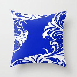 Damask Blue and White Victorian Swirl Damask Pattern Throw Pillow