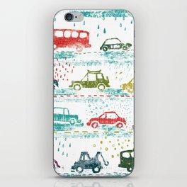 cars in the rain iPhone Skin