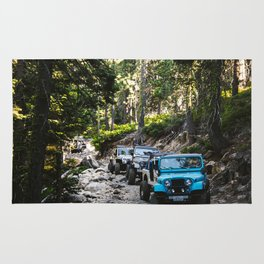 Line of Jeeps Rug