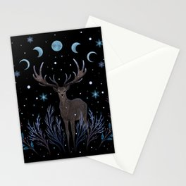 Deer in Winter Night Forest Stationery Cards