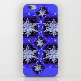 BLUE WINTER HOLIDAY SNOWFLAKES PATTERN ART iPhone Skin