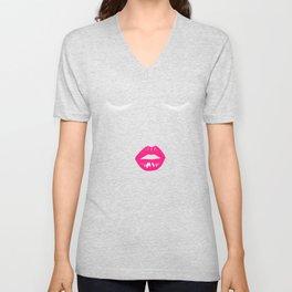 Eyelashes & Lips Lipstick - Sexy Women Face Unisex V-Neck