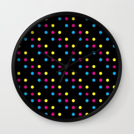 Dark CMYK Polka Dots Wall Clock