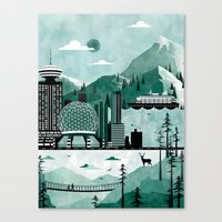 travel poster Canvas Prints featuring Vancouver Travel Poster Illustration by ClaireIllustrations
