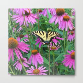 495 - Butterfly and Flowers Metal Print