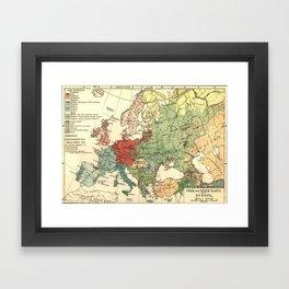 Vintage Linguistic Map of Europe (1907) Framed Art Print