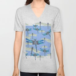 BLUE & GOSSAMER WHITE  DRAGONFLY SEASON ART Unisex V-Neck