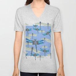 BLUE & GOSSAMER WHITE  DRAGONFLY SEASON ART Unisex V-Neck