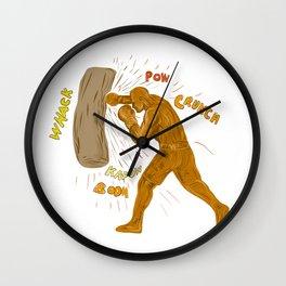 Boxer Hitting Punching Bag Drawing Wall Clock