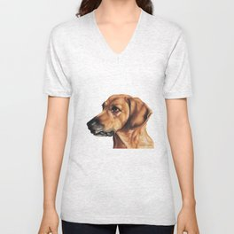 Dog Artwork in coloured pencil Unisex V-Neck