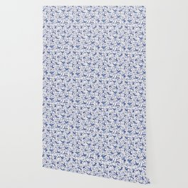 Delft Blue Humming Birds & Leaves Pattern Wallpaper