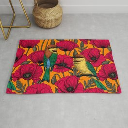 Bee eaters and poppies on orange Rug