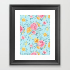 Chalk Pastel Pink & Orange Roses on Sky Blue Framed Art Print
