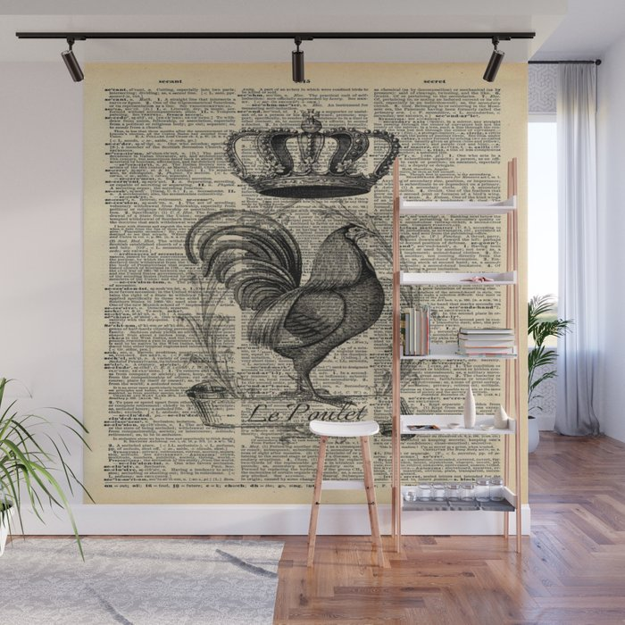 Western Country French Chicken Kitchen Art Farmhouse Rooster Wall Mural By Chicelegantboutique