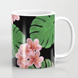 Tropical Floral Print Black Coffee Mug