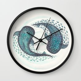 Whale Sharks in Pair Circling in the Ocean Wall Clock