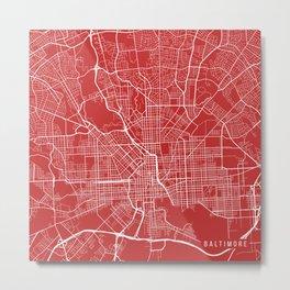 Baltimore Map, USA - Red Metal Print