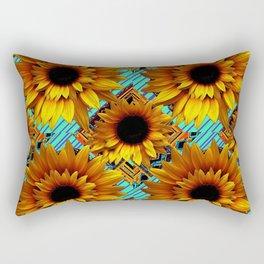 ANTIQUE GOLDEN SUNFLOWER TURQUOISE MODERN ART Rectangular Pillow