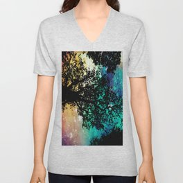 Black Trees Colorful Space Unisex V-Neck