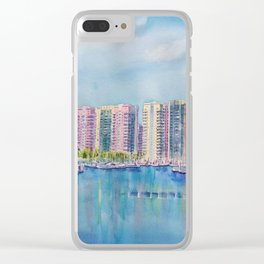Aqua Towers and Marina in Long Beach Clear iPhone Case