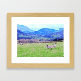 Nosy Sheep at Borrowdale, Lake District, UK Watercolor Painting Framed Art Print