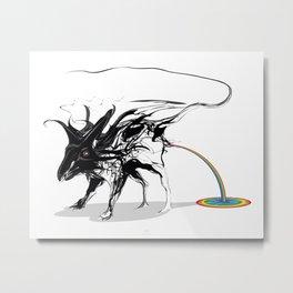 Rat and rainbow. Black on white background-(Red eyes series) Metal Print