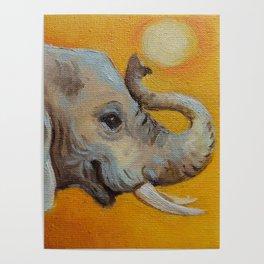 Good Luck Elephant Safari style landscape & elephant Animal portrait Yellow background Painting Poster