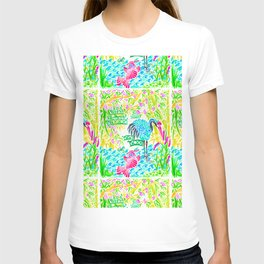 Asian Bamboo Garden in Sunset Watercolor T-shirt