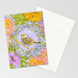 Spring Chickadee in Flowery Woodland Wreath Stationery Cards