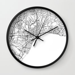 Malaga Map White Wall Clock