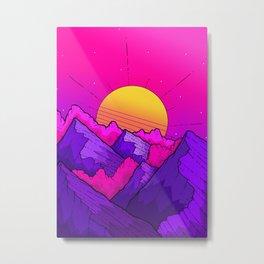 Pink sky mountains Metal Print