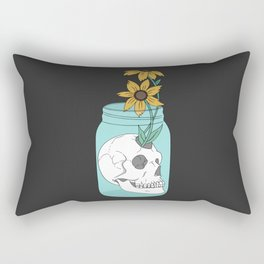 Skull in Jar with Flowers Rectangular Pillow