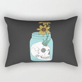 Skull in Jar with Flowers Rectangular Pillow