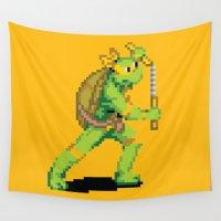 tmnt Wall Tapestries featuring Pixelated Teenage Mutant Ninja Turtles (TMNT) - Michaelangelo by Katadd