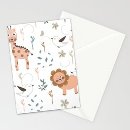 Seamless kids pattern with giraffe, lion and birds Stationery Cards