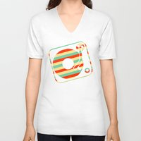 record V-neck T-shirts featuring Retro Record by Sabrina