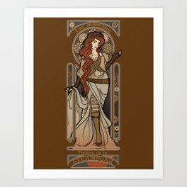 Steampunk Nouveau 2- Brown Art Print