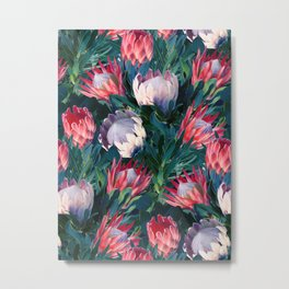 Lush Protea Botanical with Blue Green Leaves Metal Print