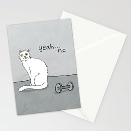 No Exercise Cat by Caleb Croy Stationery Cards