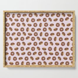 Chocolate Donuts on Pink Serving Tray