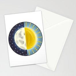 Sun and Moon, Moon and Sun, Lunar Art, Sunshine art Stationery Cards