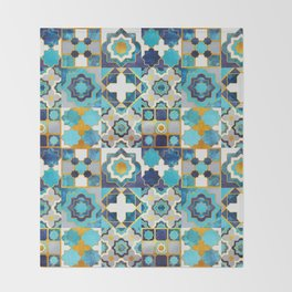 Spanish moroccan tiles inspiration // turquoise blue golden lines Throw Blanket