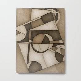 Sepia Mid Century Modern Abstract Composition Metal Print