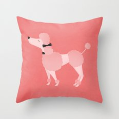 Posh Pink Poodle Throw Pillow