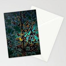 Autumn Tree on Turquoise Background Stationery Cards